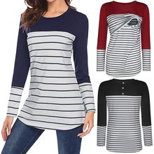 MUQGEW Shirt Nursing Tops for Pregnant Women Long Sleeve Women's Pregnancy Sleeve Dress Splicing Stripe T-shirt Nursing Baby Top(China)