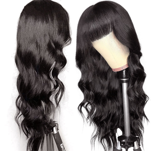 Image 1 - Cheap Body Wave Human Hair Wigs With Bangs Remy Hair Peruvian Body Wave Wigs Full Machine Made Wigs For Black Women 150% Density