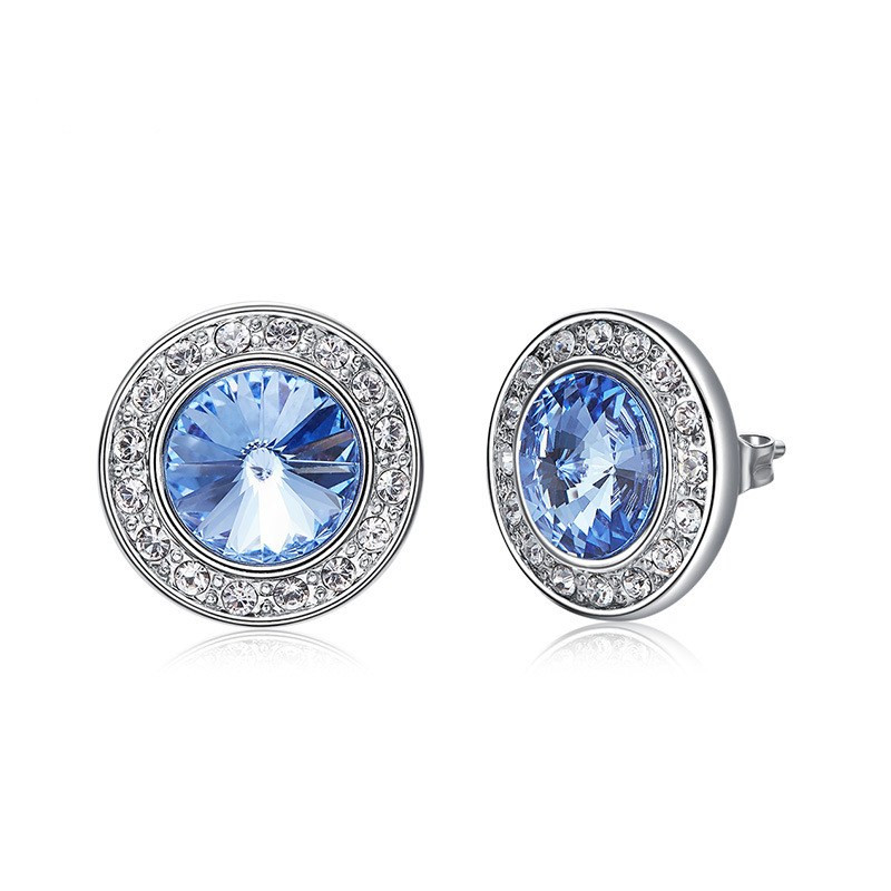 Ms Betti Classic Round Stud Earrings Crystals From Swarovski For Women Lover Silver Color Piercing Jewelry Bridal's Wedding Gift