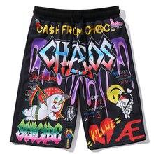 Мужские шорты в стиле хип хоп с принтом граффити пляжные бермуды