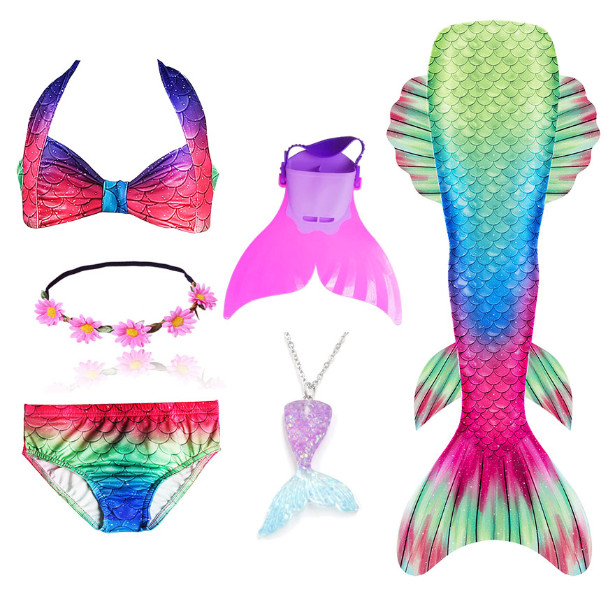 H6912f66c9a6d42499e787a1cd9268e448 - Kids Swimmable Mermaid Tail for Girls Swimming Bating Suit Mermaid Costume Swimsuit can add Monofin Fin Goggle with Garland