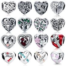 WOSTU подлинные 925 пробы серебряные бусины в форме сердца подходят для брендовых браслетов DIY оригинальные серебряные ювелирные изделия