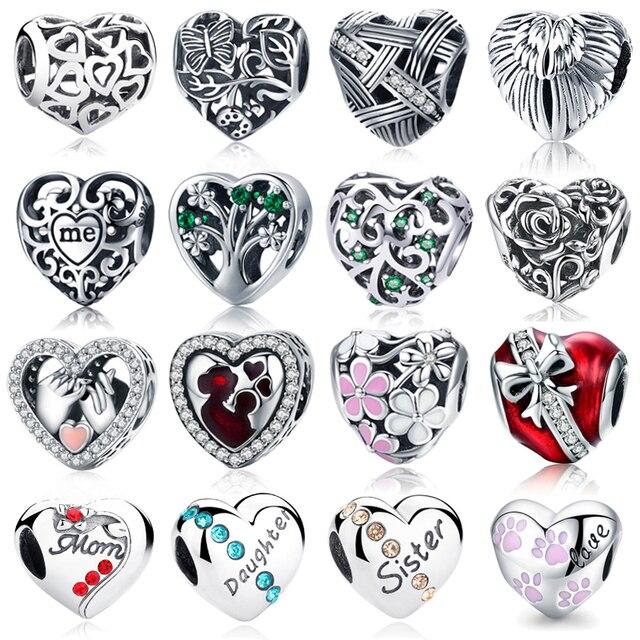 WOSTU 100% подлинные 925 пробы серебряные бусины в форме сердца подходят для брендовых браслетов DIY оригинальные серебряные ювелирные изделия