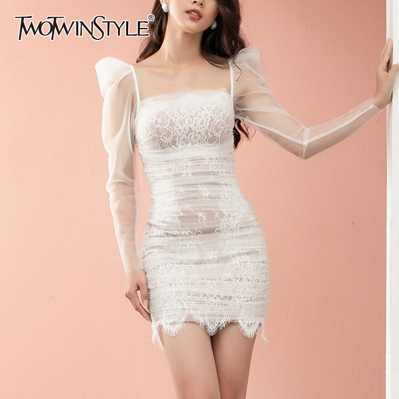 TWOTWINSTYLE Sexy Mesh Patchwork Dress Women Square Collar Puff Sleeve High Waist Lace Mini Summer Dresses Female 2020 Fashion