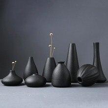 Modern 8 Style Black Ceramic Flower Arrangement Small Vase Home Decoration Small Vase Tabletop Ornament Crafts