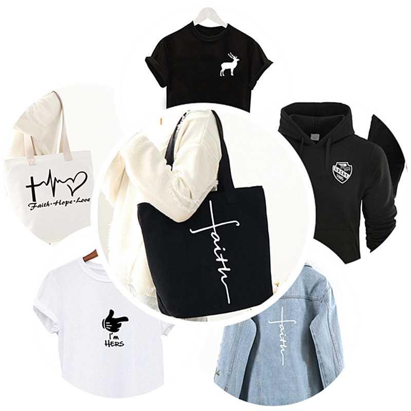 Moda parches de dedo de dibujos animados Negro Blanco I am her carta DIY parche para ropa pegatina para hombres mujeres camiseta transferencia de calor