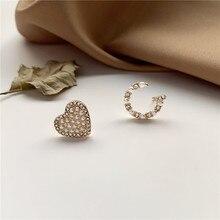2020 New Korean Vintage Earrings For Women Cute Asymmetric With Pearl Love Rhinestone Stud Fashion Jewelry