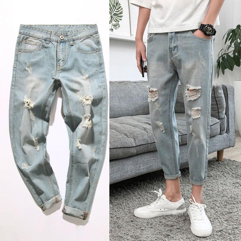 Wholesale 2020 Fashion Casual Washing Retro Light Blue Moustache Effect Slim Hip Hop Students Denim Cowboy Ankle Length Pants