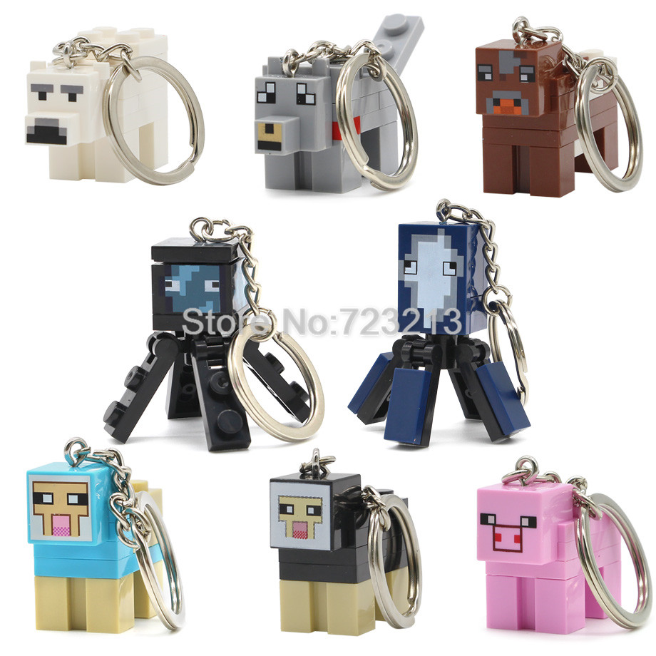 Cartoon Animal Figure Keychain Polar Bear Sleeve Fish Wolf Cow Dyed Sheep Pig Squid Building Blocks Models Bricks Toys Legoing