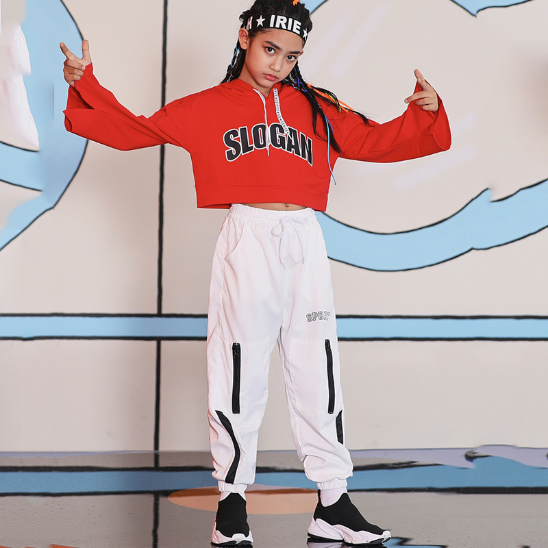 Girls Hip Hop Dance Costume For Kids Competition Loose Children Jazz Hiphop Street Dancewear  Performance Stage Outfits DQS3784