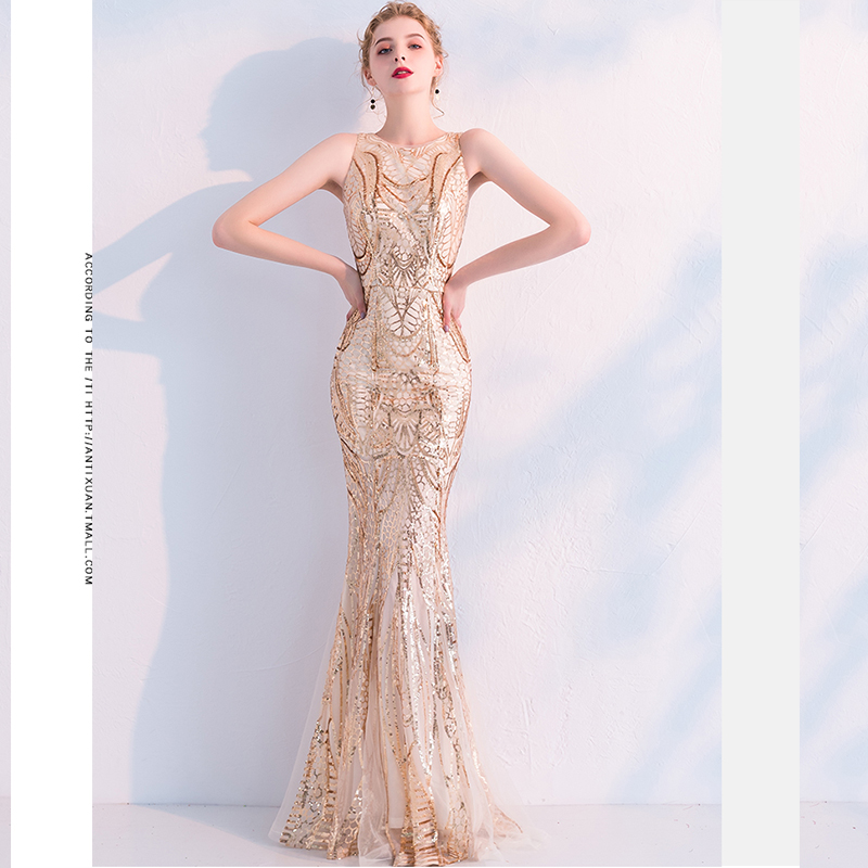 Evening     Dress   O-neck Sleeveless Women Party   Dresses   Floor Length Elegant Robe De Soiree 2019 Zipper Sequined Formal Gowns F184