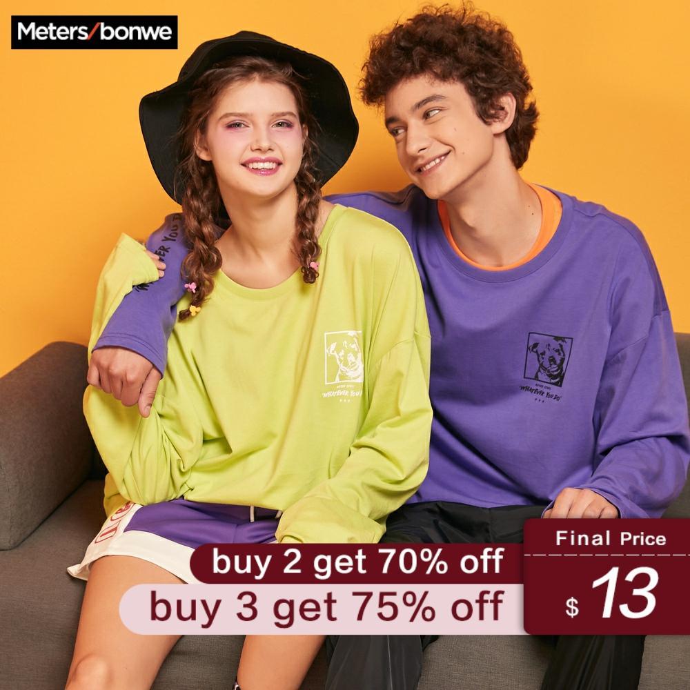 Metersbonwe Sweatshirt For Couples Men Women Casual Printing O-Neck Sweatshirt 2020 Spring New Women Oversize Pullover Tops