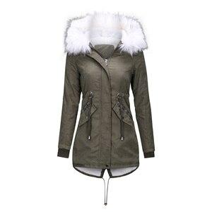 Image 4 - Vrouwen Jas Lange Overjassen Winter Warme Dikke Vrouwelijke Toevallige Militaire Bont Tops Jassen Dropshipping
