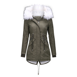 Image 4 - Women Jacket Long Overcoats Winter Warm Thick Female Casual Military Fur Tops Jackets Coats  Dropshipping