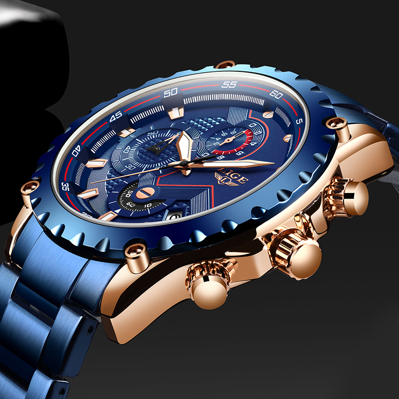 Top Brand LIGE New Men Watch Fashion Blue Stainless Steel Waterproof Sports Watch Men Quartz Clock Male Chronograph Reloj Hombre|Quartz Watches| |  - title=