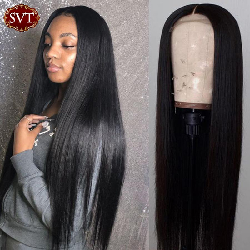 Remy Straight Closure Lace Wig 4x4 Free Part Natural Color Peruvian Lace Closure Human Hair Wigs For Women 150 130 Density Wig