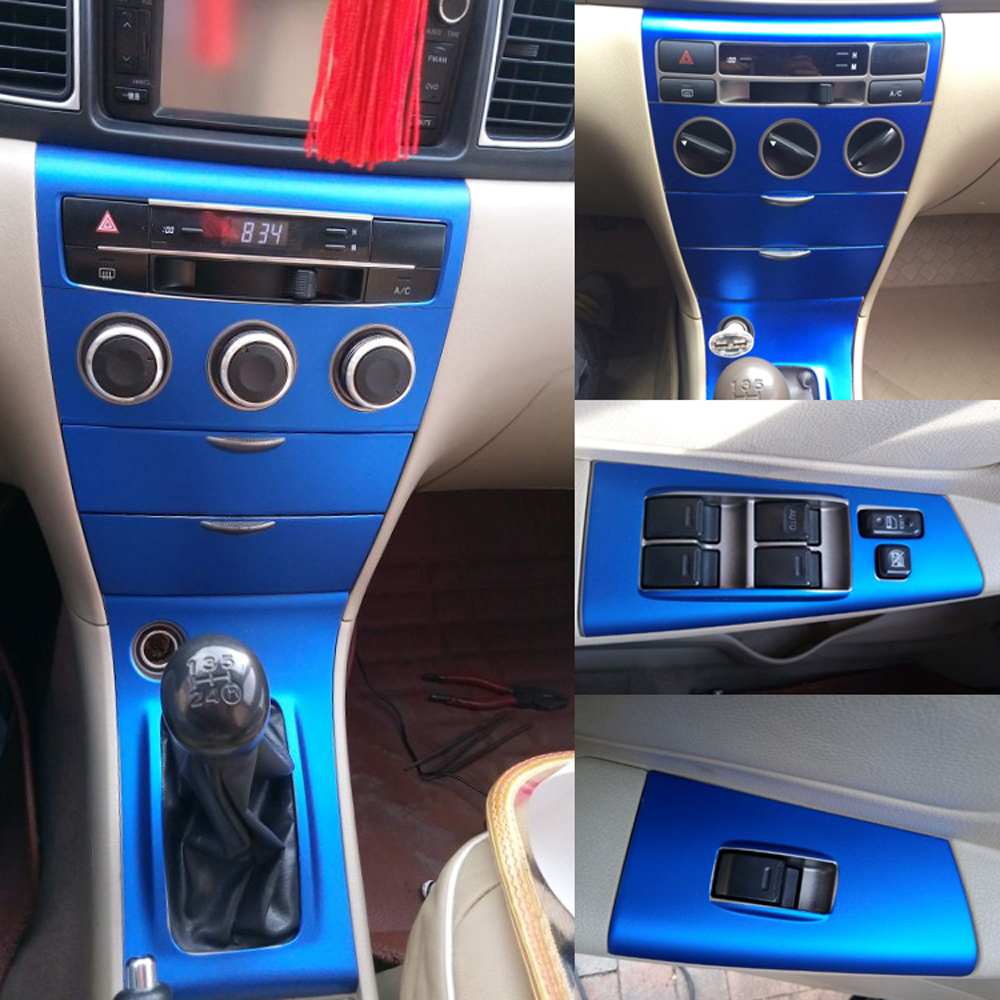For Toyota Corolla 2003-2015 Interior Central Control Panel Door Handle 5d Carbon Fiber Stickers Decals Car Styling Cutted Vinyl