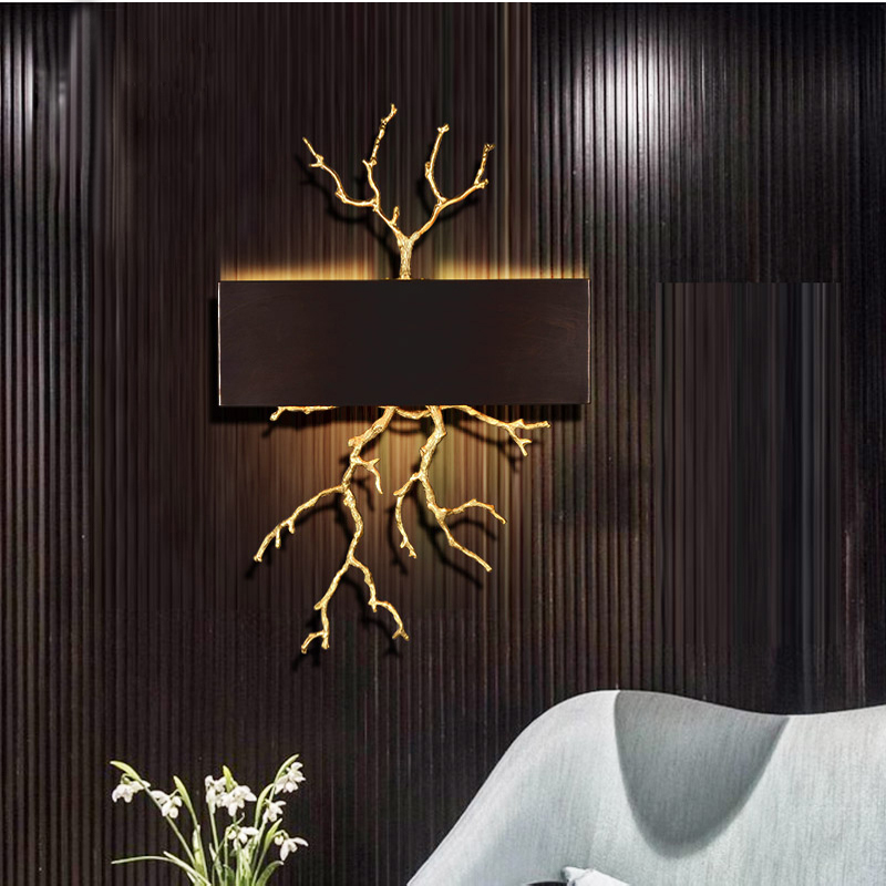 Phube Lighting Copper Branches Wall Light Coloured Glaze Wall Lamp Lighting Hotel Sconce LED Bedside Sconce Lighting