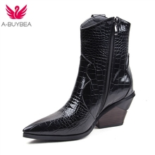 цена на 2019 Autumn Winter Fashion Cowgirl Boots Women Shoes Western Cowboy Ankle Boots Pointed Toe Leather Black Shoes Woman Heel Boots