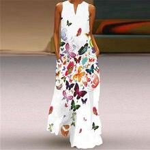 Movokaka nova borboleta impressão vestido branco 2021 casual plus size vestidos longos mulher verão sem mangas meninas praia maxi vestido