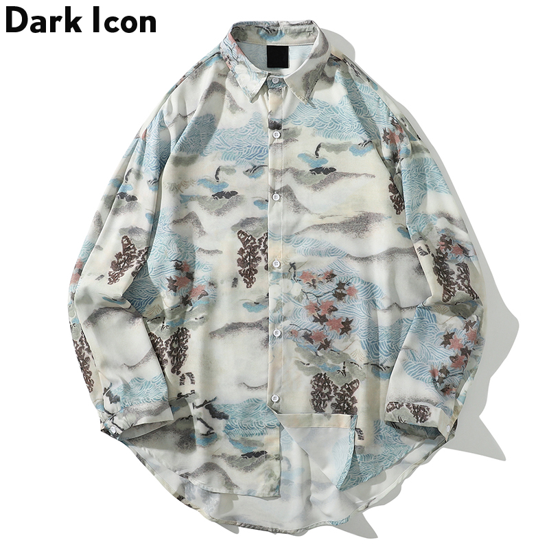Printed Casual Shirts Men Long Sleeve 2019 Harajuku Streetwear  Japanese Shirt Hip Hop Shirts  Men Clothing