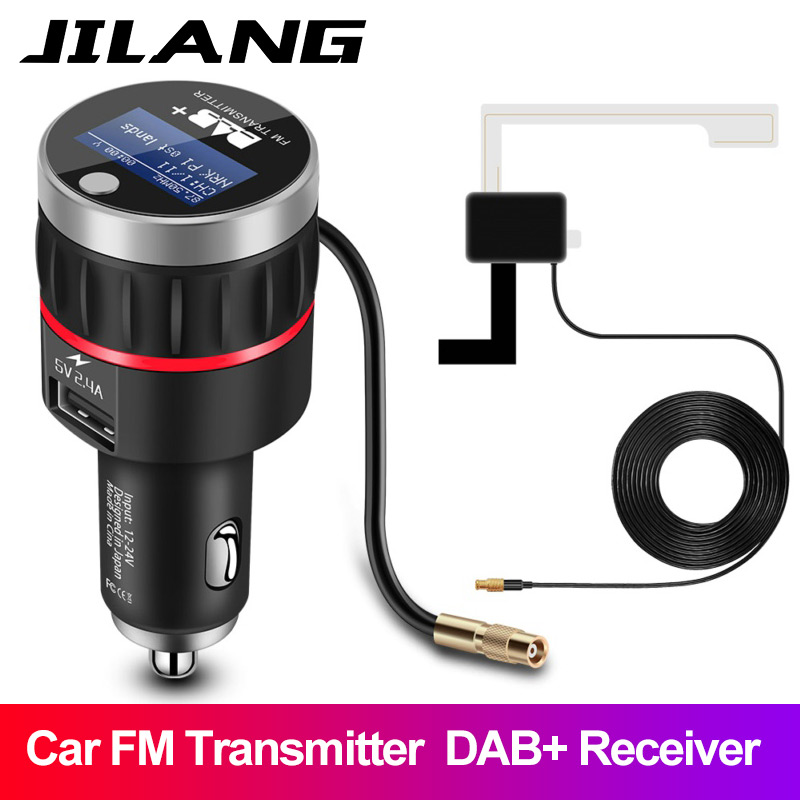 Jilang Car Radio DAB+ Radio Tuner Digital Broadcasting Receiver with FM Transmitter Converter Plug and Play Adaptor USB Charger