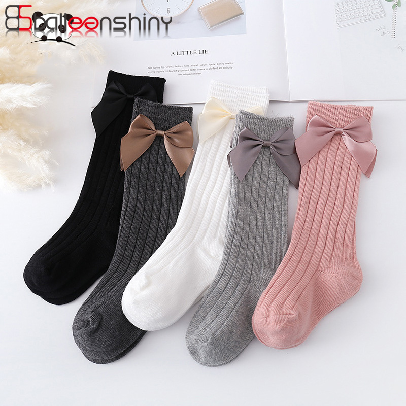 Balleenshiny Vertical Stripes Kids Socks Winter Toddlers Girls Big Bow Knee High Long Soft Cotton Baby Socks Anti Slip Solid
