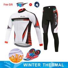 Moxilyn erkek bisiklet Jersey seti kış termal polar uzun kollu bisiklet giyim üst 9D yastıklı pantolon rüzgar geçirmez nefes sıcak