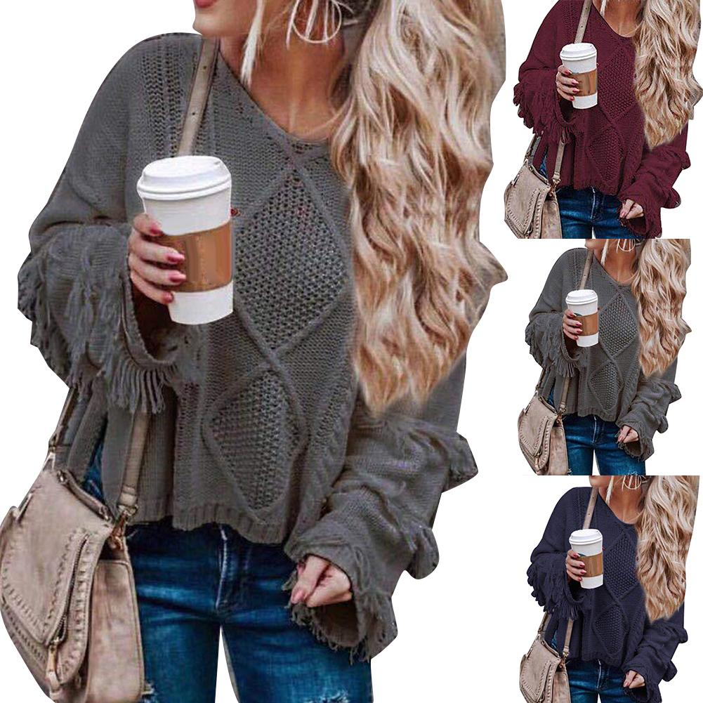 Women Sweater Winter Sweaters Solid Color Tassel Flare Sleeve O-Neck Sweaters Pullovers  Ladies Sweater