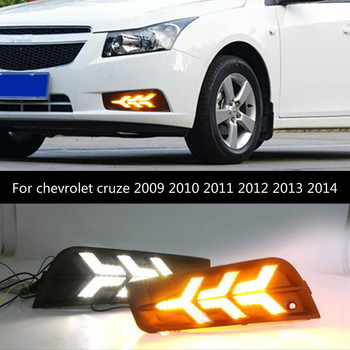2PCS DRL Daytime Running Light fog lamp cover with yellow turn signal For chevrolet cruze 2009 2010 2011 2012 2013 2014