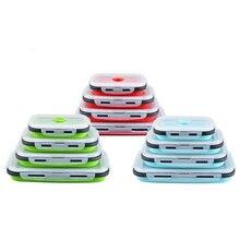 4 pçs bpa livre silicone dobrável ao ar livre lancheira recipiente de armazenamento de alimentos eco-friendly microwavable portátil piquenique acampamento