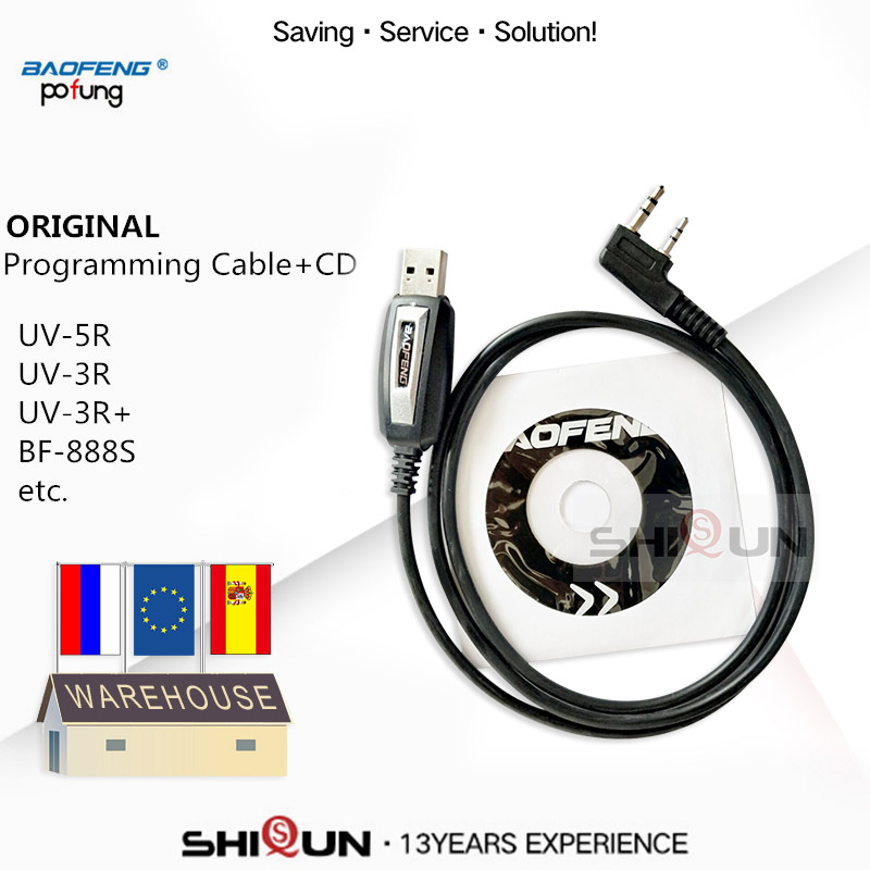 USB Programming Cable For Baofeng UV-5R UV-82 BF-888S UV-S9 BF-V9 UV-82HP UV-5RE 5RA Programming Cable Driver With CD Software