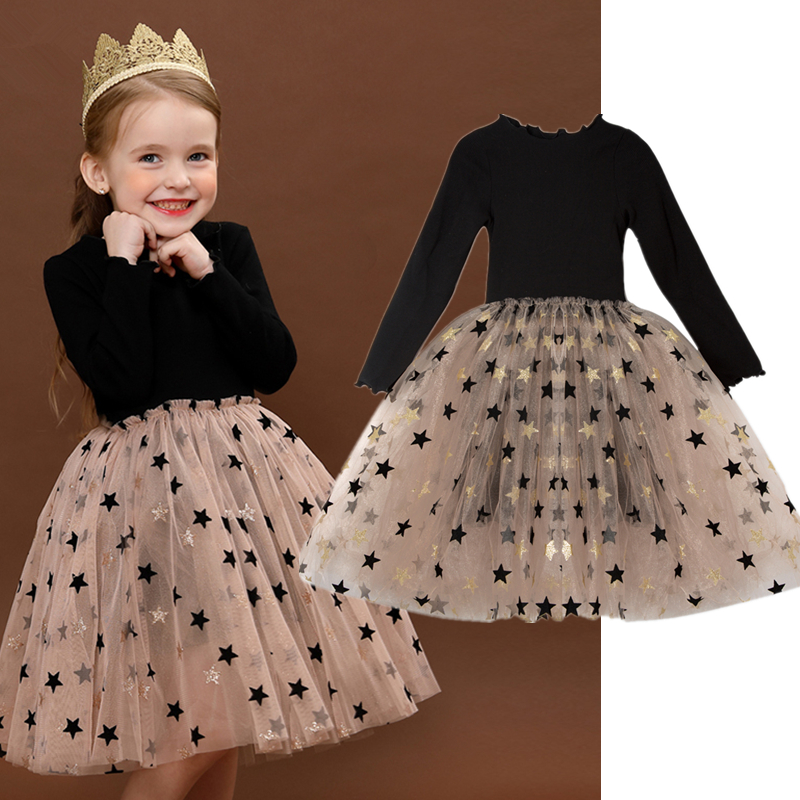 Sequins Star Tulle Dress for Girl Winter Long Sleeve Knitted Dresses Christmas Party Vestidos Baby Children Birthday Clothing 2