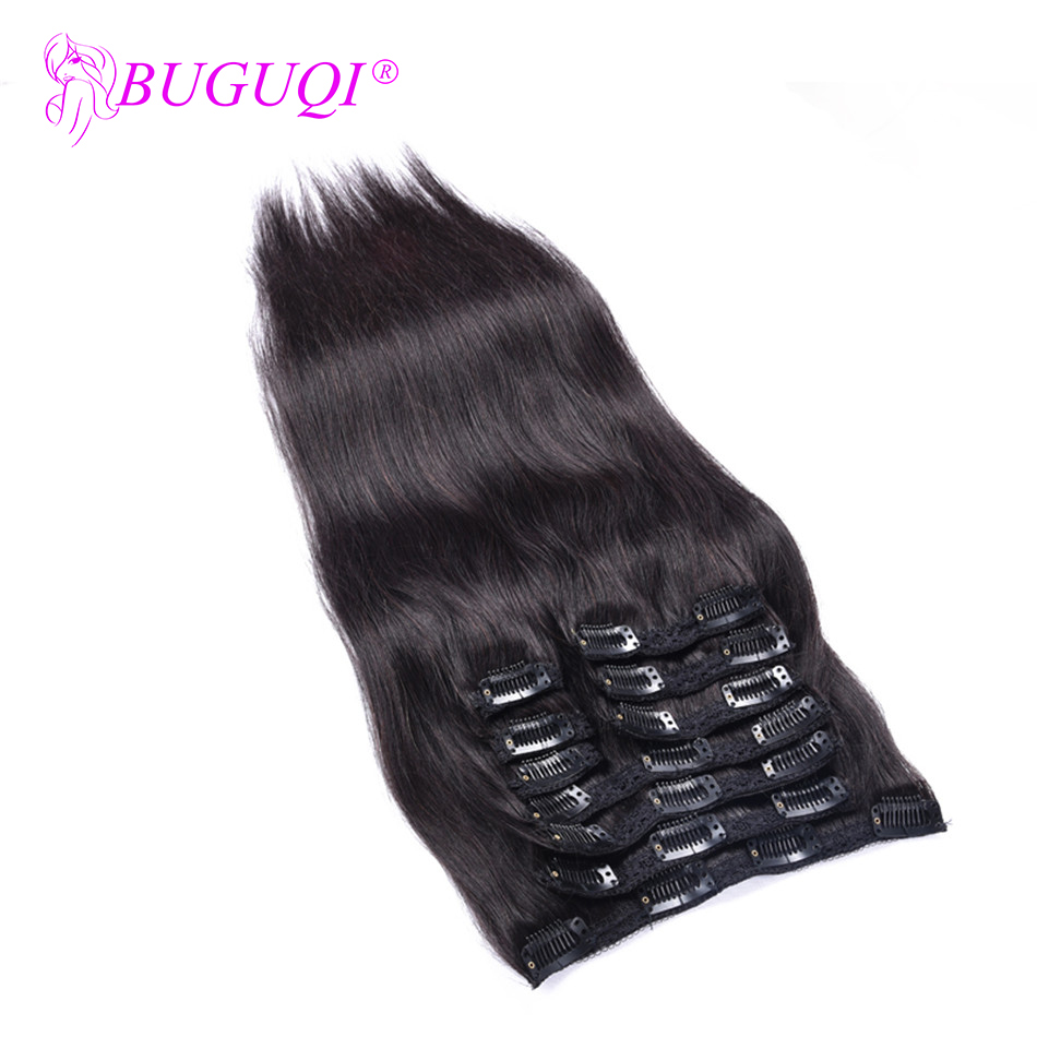 BUGUQI Hair Clip In Human Hair Extensions Peruvian Natural Color Remy 16- 26 Inch 100g Machine Made Clip Human Hair Extensions
