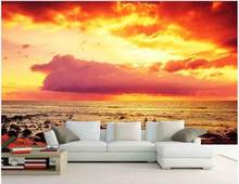 Custom mural 3d wall mural on the wall Decoration Red dusk sea scenery home decor photo wallpaper in the living room(China)