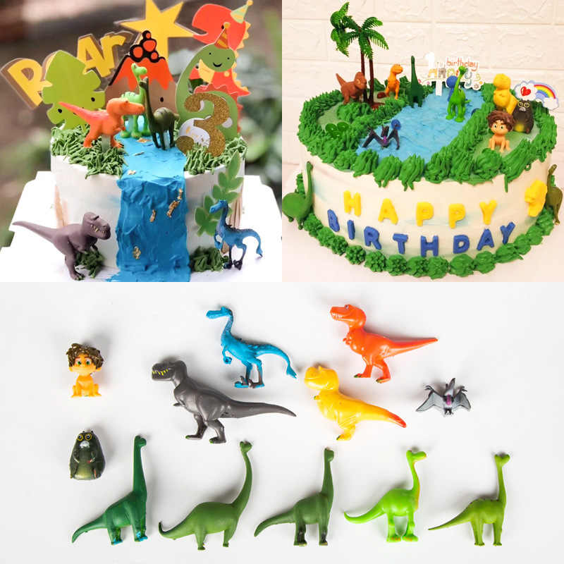 12pcs/lot Animals Theme Party Dinosaur Monster Happy Birthday Cake Toppers For Boy`s Birthday Baby Shower Cake Decor Supplies