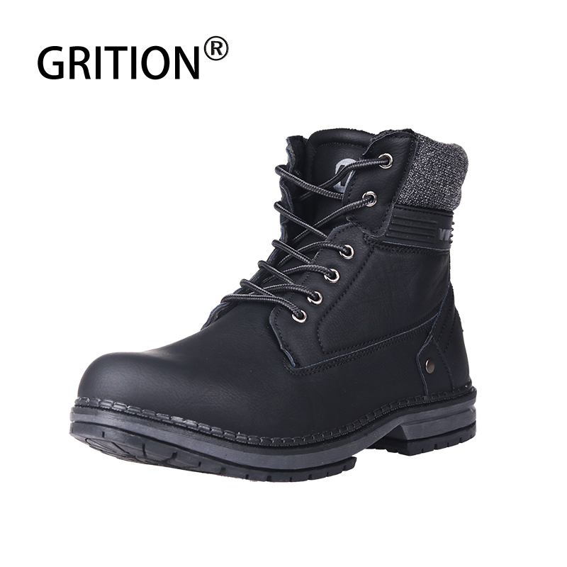 GRITION Dr Martins Boots Men Outdoor Chelsea Tactical Military Boots Work Safety Shoes Casual Warmly Ankle Boots 2019 New 46Size