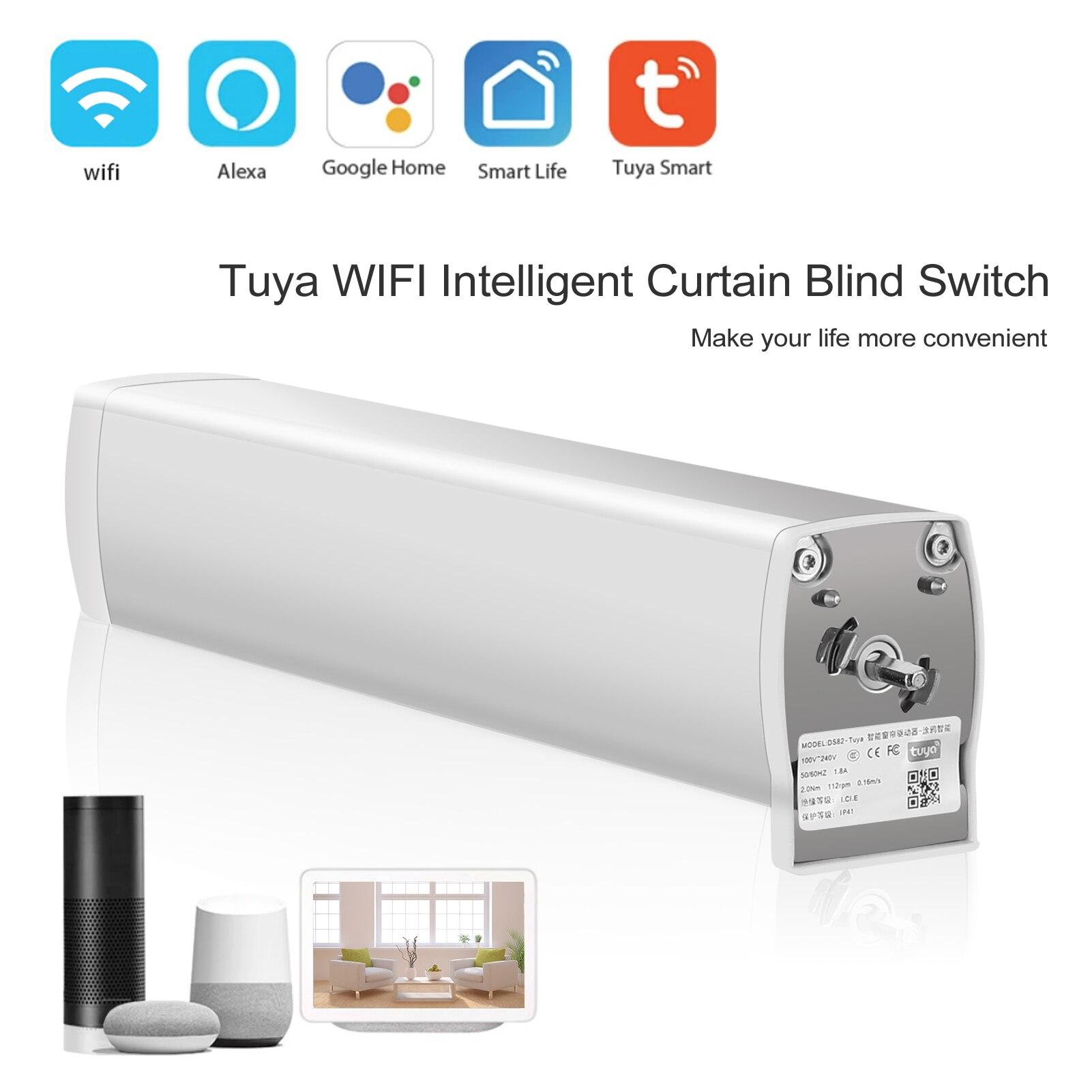 Tuya WIFI Intelligent Curtain Blind Switch Electric Motorized Curtain Roller Shutter Control Switch Remote Control Curtain Motor