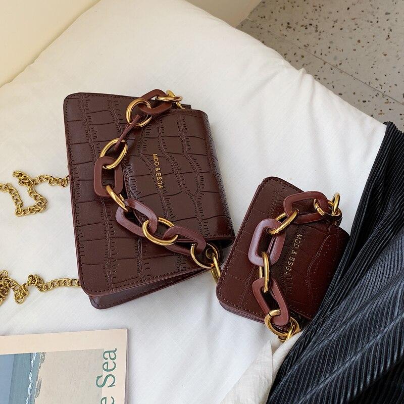 Элегантная Женская мини сумка тоут 2020 новая качественная кожаная женская дизайнерская сумка с узором «крокодиловая кожа» сумка мессенджер на плечо с цепочкой|Сумки с ручками|   | АлиЭкспресс - Аналоги сумок с показов мод осень-зима 2020/21