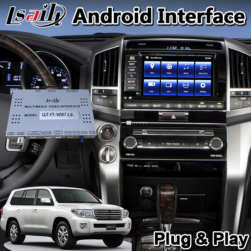 Lsailt <font><b>Android</b></font> Video Interface for 2012-2015 Year <font><b>Toyota</b></font> <font><b>Land</b></font> <font><b>Cruiser</b></font> <font><b>LC200</b></font> With GPS Navigation Can Support Add Carplay image