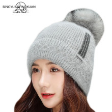 Women Knit Slouchy Beanie Chunky Baggy Hat with Faux Fur Pompom Winter Soft Warm Ski Cap