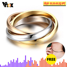 Classic 3 loop ring sets for women fashion stainless steel finger jewelry brand round wedding ring