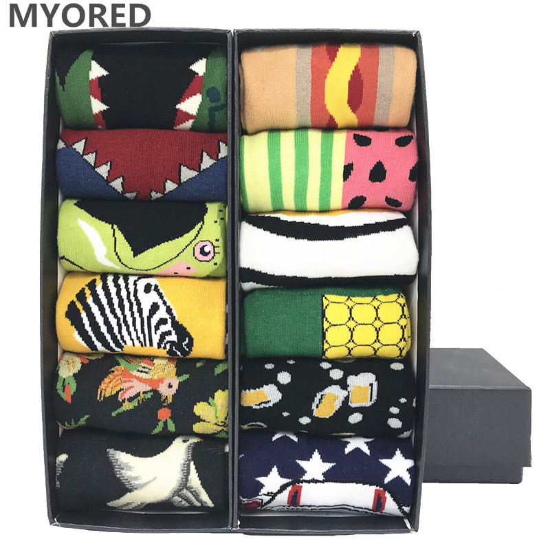 MYORED 12 pairs/Lot  mens party colorful bright socks cartoon animal socks for male female Novelty Dot cotton Funny socks NO BOX