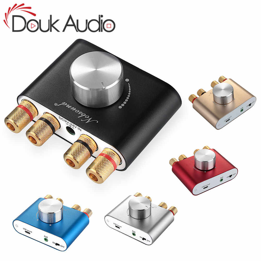 Douk Audio Hi-fi Bluetooth 5.0 Digital Amplifier Stereo 2.0 CH Mini TPA3116 High-Power Amp Penerima Audio Nirkabel DC12V