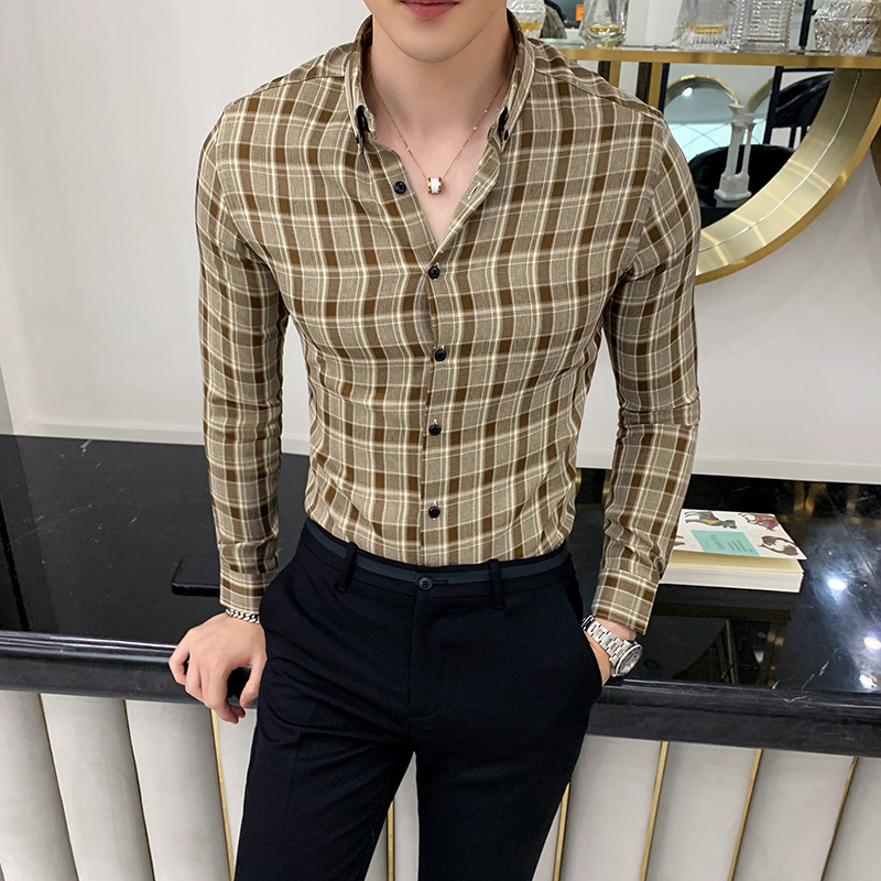 British Style Check Shirt Men Autumn Winter Slim Fit Men Plaid Shirt Long Sleeve High Quality Formal Wear Men Casual Shirts 4XL