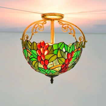 30cm Green Pastoral Grape Tiffany Multi-Color Glass Restaurant Bedroom Aisle Corridor Bathroom Glass Ceiling Lamp american pastoral rose three restaurant tiffany pendant lamp