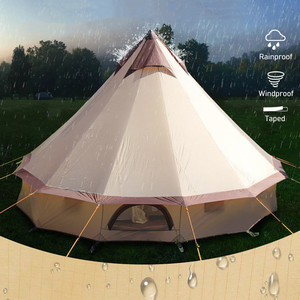 Image 4 - Large Space Mongolia Yurt Tent 8 10 Person Outdoor Waterproof Oxford Family Tent for Self drive Camping Wild Survival Picnic
