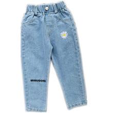 4-12years Girls Jeans Children Pants New Casual Trousers Full Length Girls denim Pants long trousers Elastic Floral kids pants girls elastic jaw pants