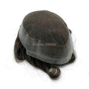 Image 3 - חדש בסיס עיצוב מניית רמי שיער פאה תחרה סביב pu גברים פאה