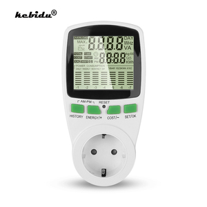 Image 1 - Kebidu euプラグデジタル液晶ソケットエネルギー電気パワーメータ電力計ワット数kwh電圧電流計
